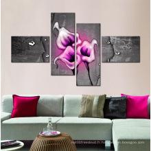 Peintures modernes en bois 4 panneaux de fleurs
