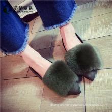 Girls lazy fur shoes ladies flat shoes women