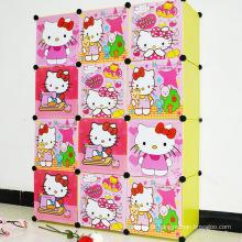 12 Portas Cute DIY Plastic Wardrobe Armários para casa (ZH0016-2)