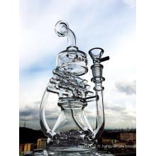 Nouveau design 12 pouces de hauteur Mini recyclage portable tuyau d'eau en verre