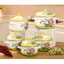 Carbon steel enamel cookware with enamel lid and full delca & enamel cookware