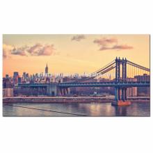 Puente de Manhattan de los EEUU en las impresiones de la lona del amanecer / arte de la pared de la lona del paisaje urbano de Nueva York / arte de la pared del río Hudson para la venta al por mayor