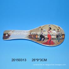 Venta al por mayor cuchara de cerámica con la mujer bailando