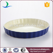 De buena calidad ronda de color azul oscuro ronda cerámica bakeware