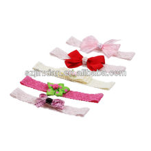 polyester pink small ribbon flower