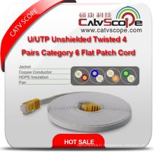 Structure Câblage U / UTP Unshielded Twisted 4 Pairs Catégorie 6 Cordon de Patch Plat