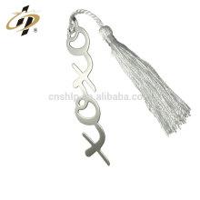 Marcador del metal del monograma de la galjanoplastia de plata barata al por mayor barata con las borlas