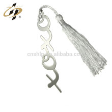 Wholesale cheap custom silver plating monogram metal bookmark with tassels