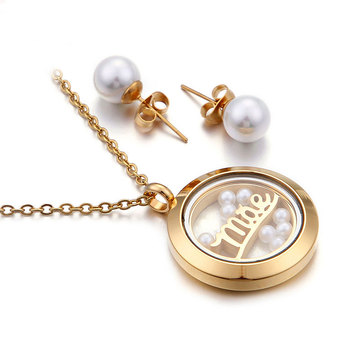 Perhiasan mutiara air tawar set 18k anting-anting kalung emas