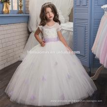 Spitze-Tulle-Blumen-Mädchen kleidet für Hochzeits-kleinen Zug geschwollene Prinzessin Dresses Mädchen-erste Kommunionskleid mit purpurrotem Gurt