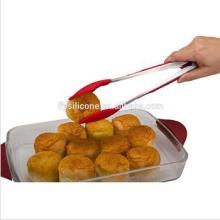 Aço inoxidável punho cozinha tongs alimentos de grau silicone bolo tong