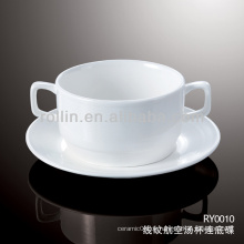Gesundes, haltbares, weißes Porzellan Airline Suppe Tasse und Untertasse