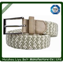 2014 fashion braided leather pu knit elastic belt rectangular buckle