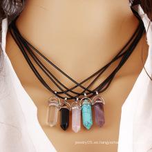 Collar Colgante Collar de aleación de moda de oro de la plata de la joyería de la manera de las mujeres Collar de piedra de la curación de piedra natural de la piedra
