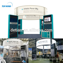 Detian Offer 6x6m beautiful trade show booth stand with circle lighting banner