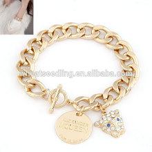 The leopard disc pendant gold bracelet