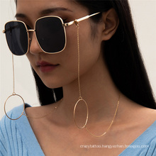 European and American Gold Silver Metal Ring Hip Hop Simple Ins Thin Chain Hanging Neck Rope Reading Glasses Sunglasses Chain Glasses Chain for Women