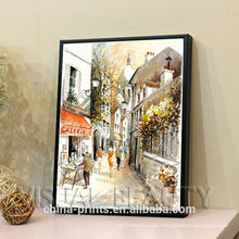 Pintura al óleo de encargo moderna de la escena de la calle en lona