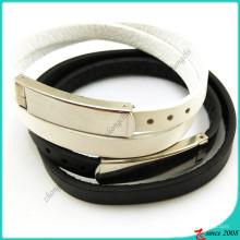 Двойной черный белый кожаный Браслет простой дизайн (LB16041948)