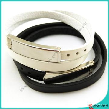 Diseño simple de pulsera de cuero blanco doble negro (LB16041948)