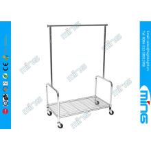 Rolling Single Bar Steel Metal Clothes Rack With Storage Shelf