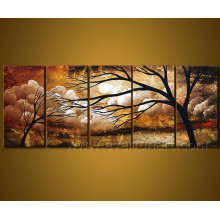 Peinture à l'huile à la main sur l'arbre du paysage sur toile