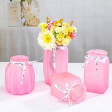 Hot Selling Glass Pink Color Vase for Home Decoration Useful