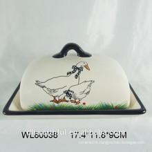 Lovely ceramic decal cheese plate with lid