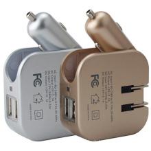 2in1 USB-Auto-Aufladeeinheit mit Wand-USB-Adapter für Handy-Tablette