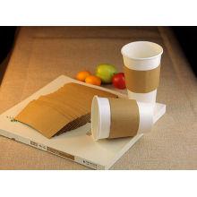 Luva de papel de cor marrom para copo de papel de parede de café único 8 oz