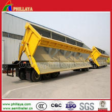 Dump Dumper Semi-Trailer Side Tipper with Front/Back Hydraulic Cylinders