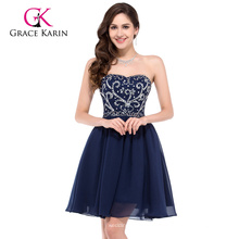 7d3bf4a8264cb غريس كارين مثير حمالة الشيفون قصيرة الأزرق الداكن فستان حفلة موسيقية  CL6049-1