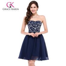 Grace Karin Sexy Strapless corto de gasa de color azul marino vestido de baile CL6049-1