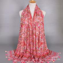 Moda nova chegada grande padrão de flor impressão cachecol xale de algodão mecerized com borla