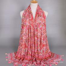 Мода новое поступление большой цветочный узор печать шарф mecerized хлопок платок с кисточкой