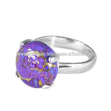 Natürlicher lila Kupfer Türkis Edelstein 925 Sterling Silber Ring