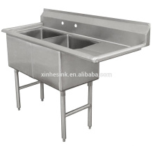 Fregadero de compartimento de acero inoxidable comercial de dos cuencos con un solo tablero de drenaje