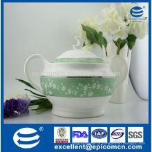 2014 nova chegada gravado decalque cozinha utensílios de alta qualidade New Bone China tureen, 2.6L recipiente para sopa com tampa