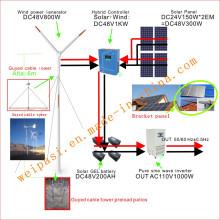Energía eólica, + sistema solar, sistema DC48V, salida AC110V1000W (1KW), EE.UU.