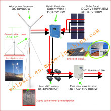 Wind power, +Solar System, DC48V System, output AC110V1000W(1KW), USA
