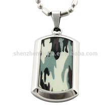 Wholesale Paper Camouflage with Stainless Steel Pendant Dog Tag Pendants Necklaces Jewelry