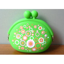 Green Silk Printed Silicone Key Bag / Purse Bag, Silicone Promotional Gift For Woman