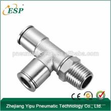 Encaixes de tubulação em forma de T do metal de ESP, conectores de ar pneumáticos 1/4 de encaixes da linha Npt