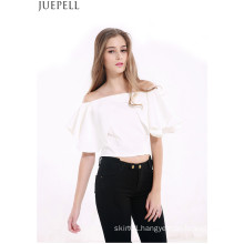 European and American Women′s Summer Halter Short Paragraph Sexy Strapless Flounced Collar Neck Short Sleeve T-Shirt Blouse
