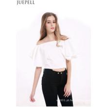 Europeus e Americanos Mulheres Verão Halter Parágrafo Curto Sexy Strapless Babados Collar Pescoço T-Shirt de Manga Curta Blusa