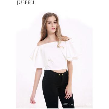 Europäische und amerikanische Frauen Sommer Halfter Kurzen Absatz Sexy Trägerlosen Volants Kragen Hals Kurzarm T-Shirt Bluse