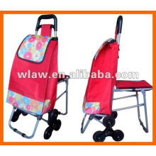 Portable shopping cart with chair
