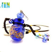 más nuevos colgantes de botella de perfume de vidrio de polvo de oro de la moda