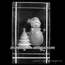K9 3D laser bonhomme de neige gravé cristal bloc
