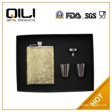 FDA 8oz Leather hip flask set anniversary gifts